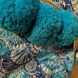 Lilly Pulitzer Oasis Pom Pom Pouch Turquoise Oasis
